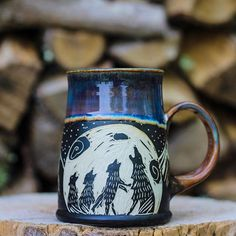Thank you to all who shopped, shared, and wished us well yesterday! We appreciate you all so much. Here's one of the mama wolf mugs that sold last night. I will be making these in small quantities, and with varying numbers of pups, as they are more time consuming. I hope that each one brings a special kind of joy to its new owner! . . . . . . #mamawolf #mamalife #mommyandme #papawolf #babywolf #threepups #threekiddos #coffeelover #coffeeaddict #coffeemug #wolfmug #spiritanimal #sgraffito