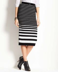 Merino Wool Blend Striped Sweater Skirt | Ann Taylor