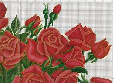 Roses in vase 4 of 7 top right Cross Stitch Numbers, Cute Cross Stitch, Cross Stitch Rose, Cross Stitch Flowers, Cross Stitch Charts, Cross Stitch Designs, Cross Stitch Patterns, Cross Stitching, Cross Stitch Embroidery