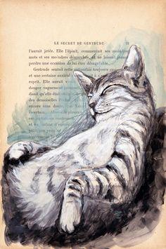 TOM-VENDU - Peinture, 28,5x19 cm ©2015 par evafialka - Art figuratif, Impressionnisme, Réalisme, Papier, Animaux, Chats, cat, cat nap, sieste, animal portrait