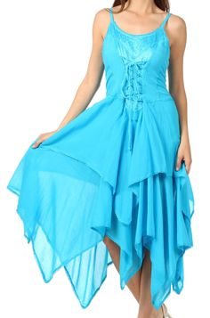 Sakkas 9031 Lady Mary Jacquard Bodice Handkerchief Hem Dress - Turquoise - One Size