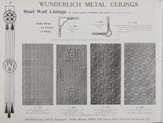 Catalogue page, page 46 of 'Abridged General Catalogue of Metal Ceilings, Wall Linings and Stamped Metal for Exterior and Interior Decoration', Wunderlich Limited, Redfern, New South Wales, Australia, September 1912  Page 46 of 'Abridged General Catalogue of Metal Ceilings, Wall Linings and Stamped ...