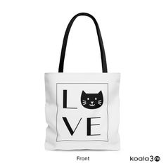 Perfect for Cat Lover! Cat Tote Bag, Wedding Totes, Love Cat Tote Bag, Cat Books Bag, Cat Grocery Bag, Cat Shopping Bag, Cat Bag, Black Tote Bag