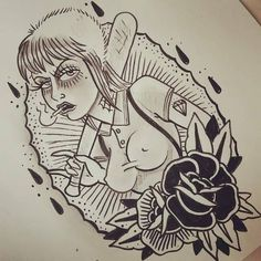 "skinbyrd707: "" Here's the outline of my next tattoo. Can't fucking wait to get it done. drawn by Harmony at Second Sight Tattoo. """