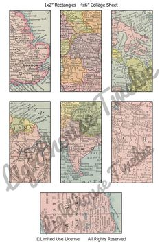 "Vintage Maps Domino Tiles 1x2"" Printable Images Digital Collage Sheet Scrapbook Sheet Instant Download (ss0019)"