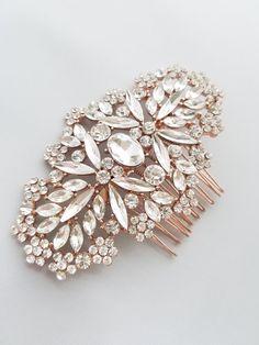 Rose Gold Bridal Haircomb Rosegold Rhinestone Hair Piece