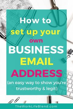 Take your business to the next level with your own branded business email address. This is a super easy way to look professional and like you've been in business for ages! This super simple guide shows you how to set up your business email address using y Business Emails, Business Branding, Business Marketing, Business Tips, Online Business, Growing Your Business, Starting A Business, Make Money Online, Motto