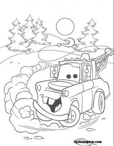 Tow Mater car 2 movies coloring pages print out