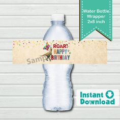 Dinosaur water bottle label. Instant Download. Rustic by CrazyLime