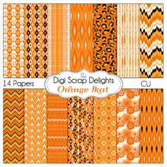 Ikat+Scrapbook+Paper+in+Orange+for+Digital+by+DigiScrapDelights,+$3.00