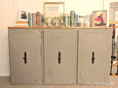 Old Kitchen Cabinet Turned Console Table from My Fabuless Life