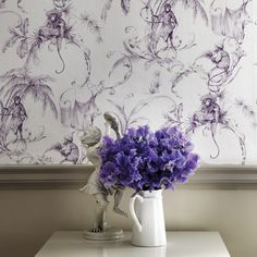 Barbary Toile Wallpaper in Amethyst by Nina Campbell for Osborne & Lit Monkey Wallpaper, Toile Wallpaper, New Wallpaper, Animal Wallpaper, Unusual Wallpaper, Modern Wallpaper, Designer Wallpaper, Oriental Wallpaper, Wallpaper Designs