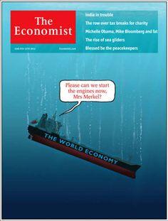 """Revista The Economist (UK) - 09 de junio de 2012: La súplica a Alemania para que salve al mundo. """"Por favor, ¿podemos arrancar los motores ahora, sra. Merkel?"""""""