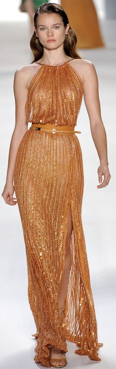 Elie Saab ~ Copper Metallic Halter Maxi 2012 - Even though it's not the color, I like the style