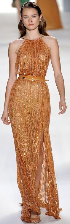 Elie Saab ~ Copper Metallic Halter Maxi 2012 bridesmaid dress