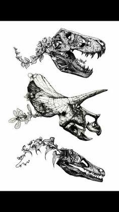 Dinosaur fossil tattoo