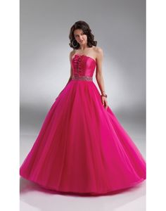 Strapless Beaded Applique A-line Ball Gown Prom Dress