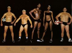 Howard Schatz's Athlete series explores many different variations of the human physique. Here you can see athletes from different sports showing their specific body types. Heptathlon, Physique, Athletic Body Types, Body Reference, Anatomy Reference, Reference Images, Figure Reference, Drawing Reference, Body Types
