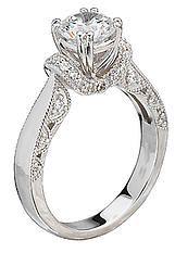 Semi-Mount V-Trellis Diamond Ring in 14kt White Gold. (D.1/5 carat total weight, does NOT include center stone as shown) Peg Head http://www.houstondiamondandgem.com/  Engagement ring // Wedding Ring // Diamond Ring