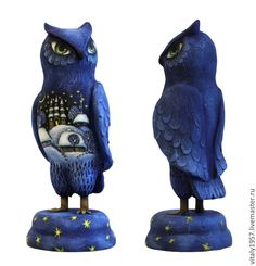 Сова. Дерево. Скульптура. Ручная роспись - деревянная скульптура,синий цвет
