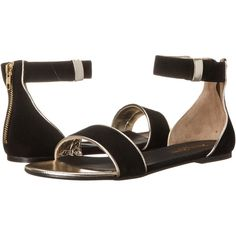 Massimo Matteo Flat w/ Ankle Strap (Black/Gold) Women's Flat Shoes ($40) ❤ liked on Polyvore featuring shoes, sandals, gold, ankle wrap flat sandals, flat pumps, black ankle strap sandals, gold sandals and flat shoes