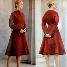 This hard to find Donna Karan Vogue pattern 2586 is for a beautiful close-fitting, unlined, flared coat, below mid-knee, it has a slightly raised neckline, side-front/side-back seams, front and long sleeves cut-in-one, front hook/eye closing, carriers and purchased belt.