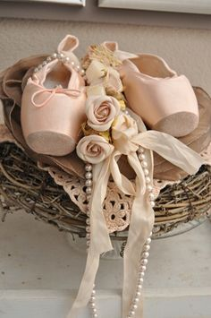 Ballet Slipper with Roses & Pearls