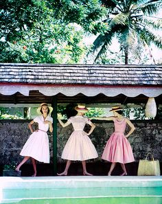 A lovely trio of pink summer frocks, 1953. #vintage #fashion #1950s #dress