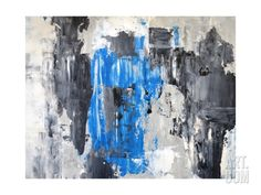 Blue And Grey Abstract Art Painting Metal Print by T30Gallery at Art.com