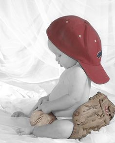 baseball. newborn pic in glove and once older sitting in glove