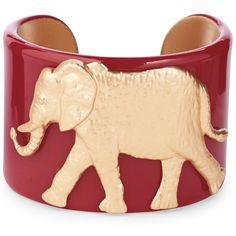 Cute Game Day Outfit Accessory! College Mascot Medallion Cuff Bracelet - Burgundy Elephant - University of Alabama Crimson Tide| Fashion | Mud Pie