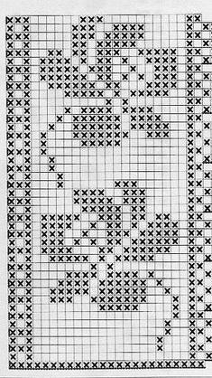 filet crochet lace edging, roses motif ~~ dantele flori - S Cross Stitch Bookmarks, Crochet Bookmarks, Cross Stitch Borders, Cross Stitch Designs, Cross Stitching, Cross Stitch Embroidery, Cross Stitch Patterns, Filet Crochet Charts, Crochet Borders