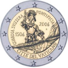 euro Anniversary of the Swiss Guard - 2006 - Series: Commemorative 2 euro coins - Vatican City Piece Euro, Swiss Guard, City Year, Euro Coins, Gold Money, Commemorative Coins, World Coins, Vatican City, Detailed Image