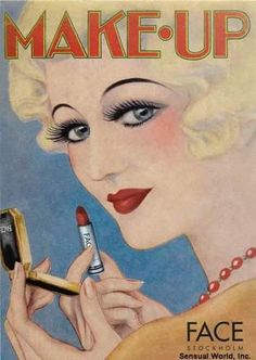 """I know these aren't exactly """"Face Charts"""" but I will use them as guides for sure :) 1930s Makeup, Vintage Makeup Ads, Retro Makeup, Old Makeup, Vintage Beauty, Vintage Ads, Vintage Vanity, Vintage Photos, Look Girl"""