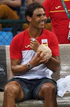 Rafael Nadal's practice session at the Rio Olympics.