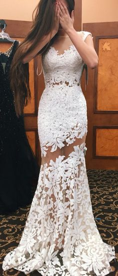 Mermaid Bateau lace prom dresses, Sleeveless Floor-Length White Lace party Dress