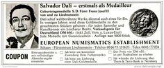 Original-Werbung/ Anzeige 1973 - SALVADOR DALI / EUROPEAN NUMISMATICS ESTABLISHMENT - ca. 135 x 50 mm