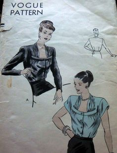 LOVELY VTG 1940s BLOUSE VOGUE Sewing Pattern 20/38