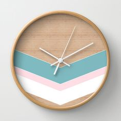 Geometric wall clock home decor ornament decoration housewares hipster modern triangle design arrows wooden pink and blue stipes wall clock Unique Clocks, Cool Clocks, Casa Retro, Diy Clock, Hanging Clock, Plexiglass, Modern Clock, Wall Clock Design, Triangle Design
