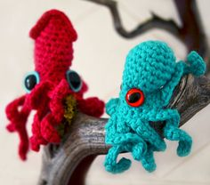 Baby Octopus and Squid crochet pattern by RubySubmarine on Etsy, $6.50