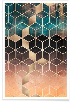 Ombre Dream Cubes als Premium poster | JUNIQE
