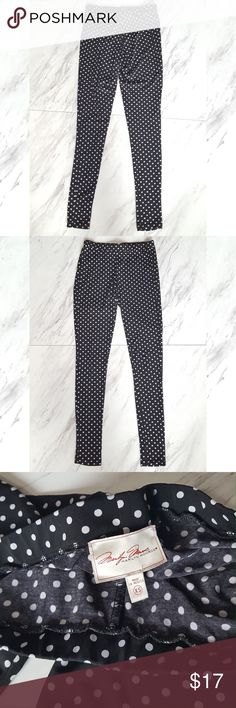 MM polka dotted leggings sz XS Marilyn Monroe leggings.   Style is polka dotted, colors are black and Ivory.  Sz XS   some thread coming loose at the bottom :-) barely noticeable.   ***Measurements:  WAIST: 11in.  INSEAM: 26.5.  LENGTH: 34in marilyn monroe Pants Leggings