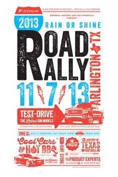 Event branding and promotion design for the GM Financial 2013 Road Rally in Arlington, TX.
