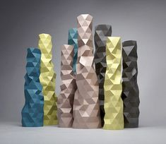 Faceture vases and light shades by designer Phil Cuttance