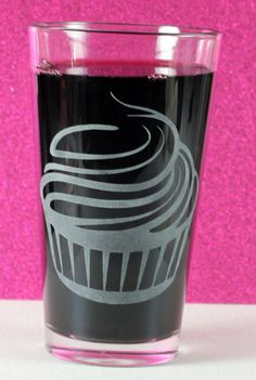 Classic Cupcake Etched Glass $15 from www.GlassBlasted.com  ✔ Dishwasher-Safe & Microwave-Safe ✔ Sandblasted art is crisp, and will not wear off like screen printed or cream etched art ✔ Made in the USA down in sunny Florida