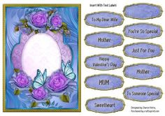 Floral Butterflies and Swans Insert on Craftsuprint designed by Sharon Vieira - A floral insert with butterflies, this lovely insert corresponds with card front cup664950_2357. Also comes with 9 sentiment labels one a blank label. Approx.6x8 . - Now available for download!