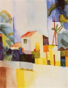 The Bright House, 1910-1914, August Macke, oil on canvas, 10.2 x 7.9 in., Germany. Expressionism.