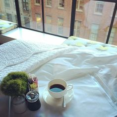 Coffee in bed at The Crosby Street Hotel
