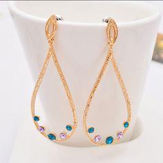 Fashion Big Bohemia Fashion Gold Dangle Earrings Rhombus Drop Tassel Earrings For Women $10.89