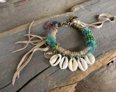 Hipppie Boho Gypsy trade beads bracelet rainbow by BeadStonenSkin